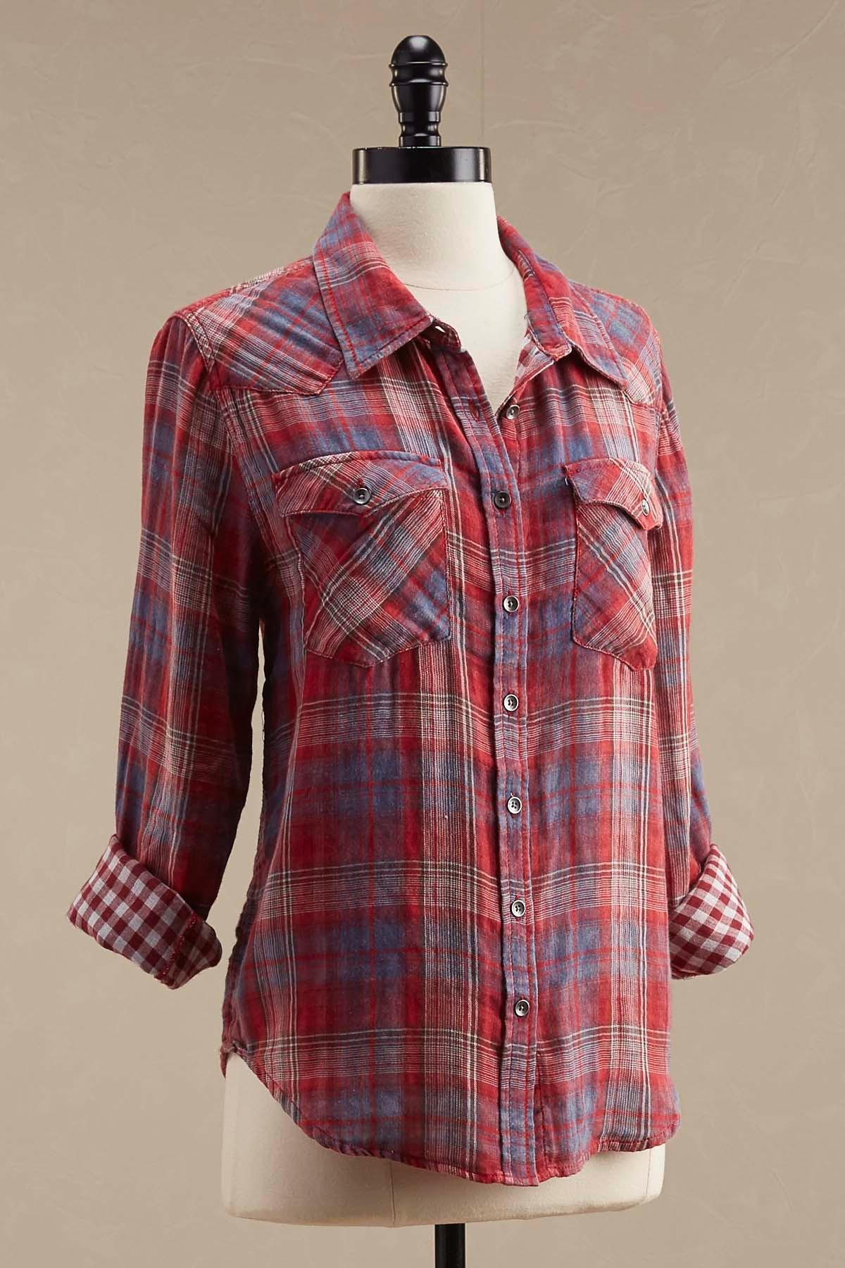 Double Layer Plaid Shirt