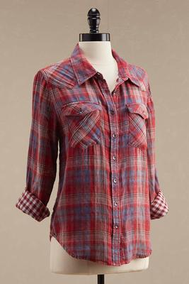 double layer plaid shirt