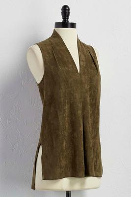 pleat front faux suede tank