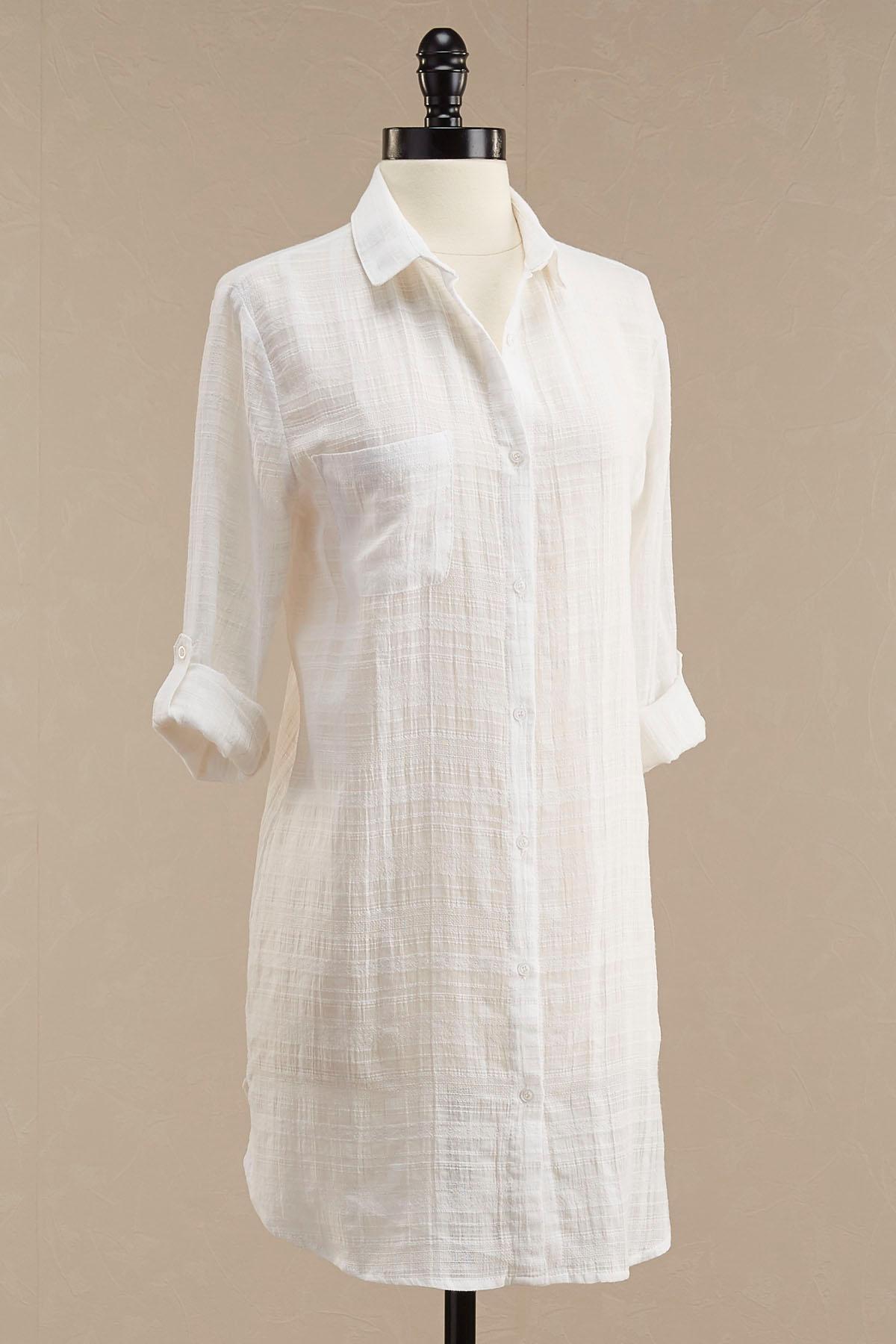 Woven Plaid Button Down Shirt