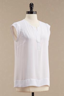 vertical pleat split neck top