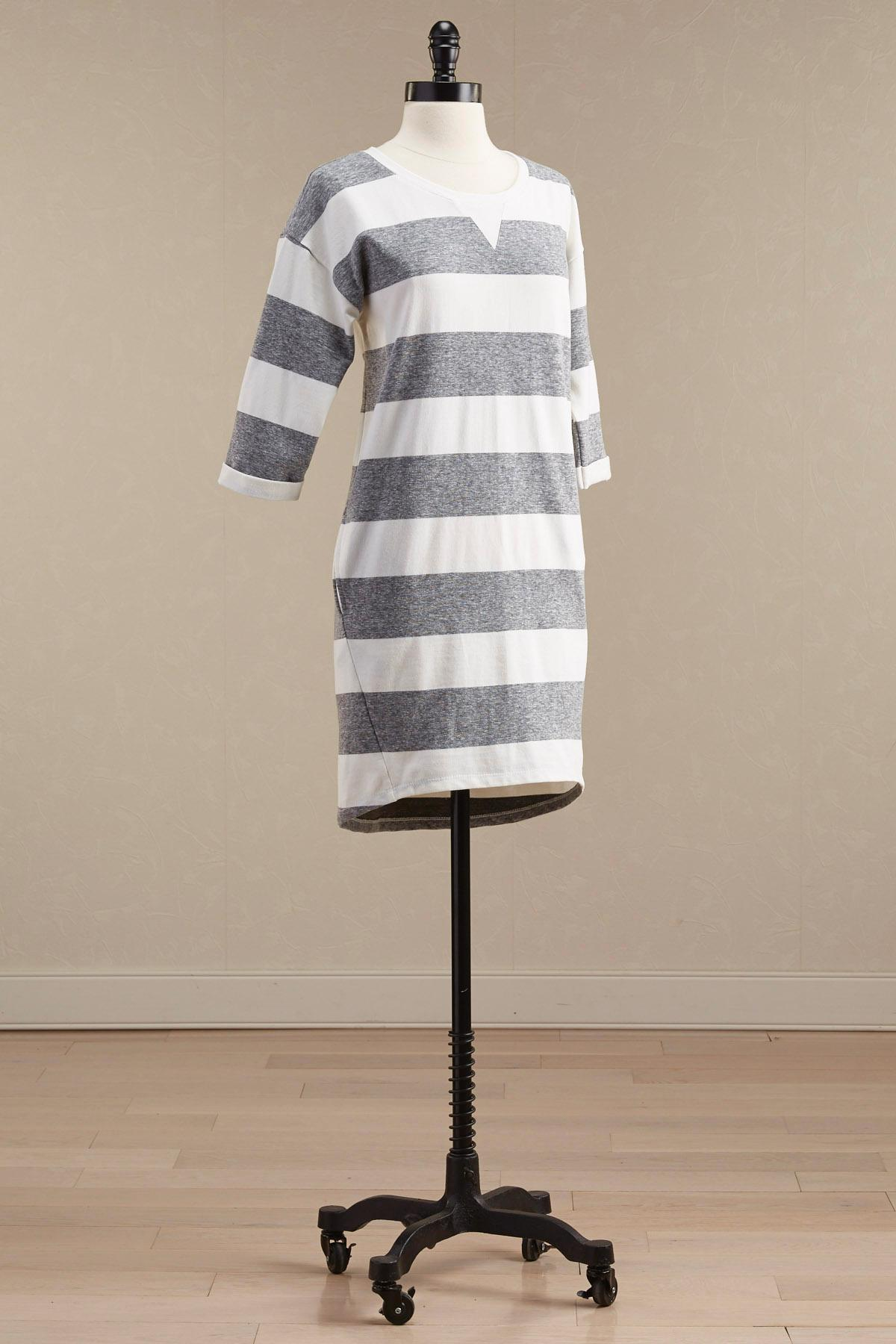 Striped Sweatshirt Shift Dress