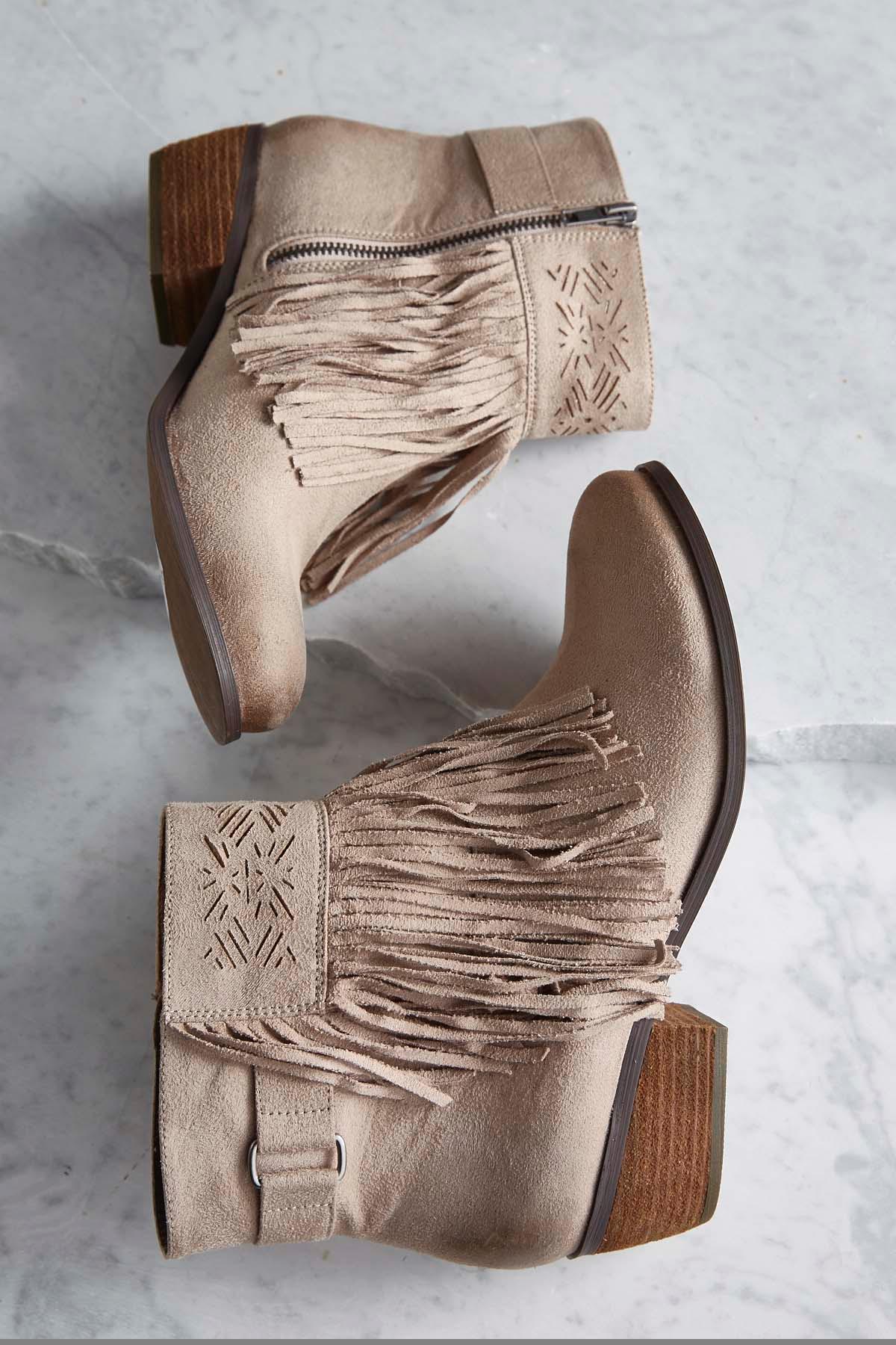 Laser Cut Fringe Boots