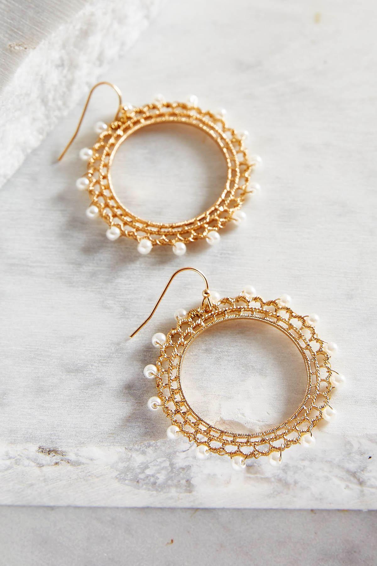 Pearl Bordered Filigree Hoop Earrings