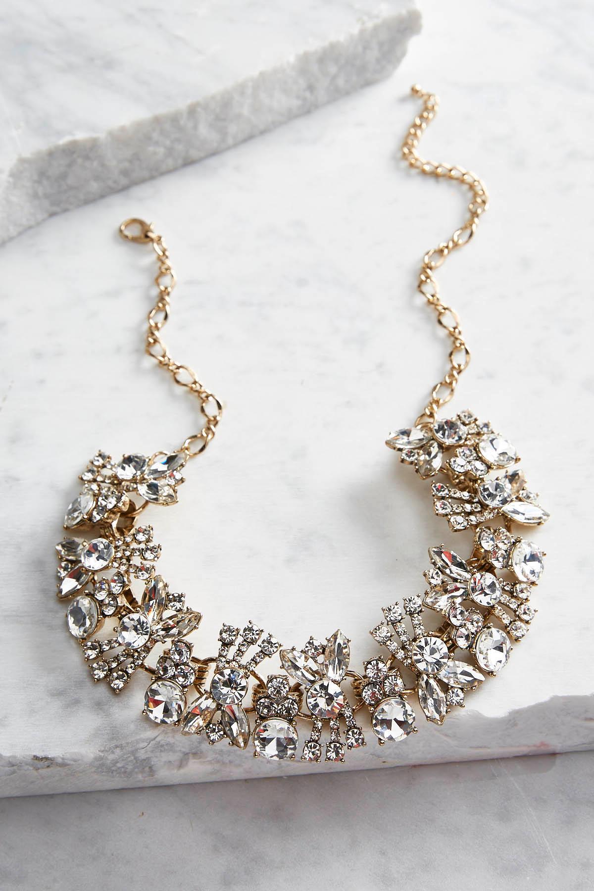 Rhinestone Cluster Bib Necklace