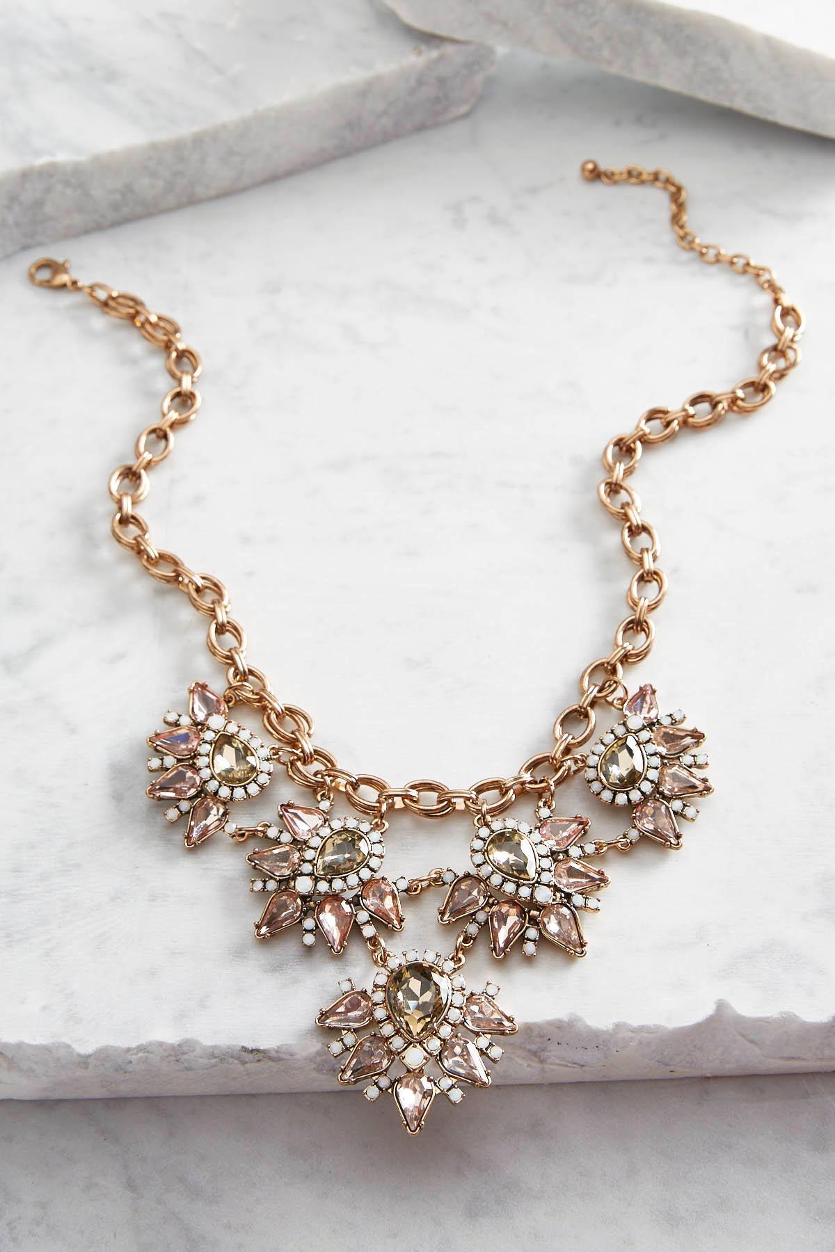 Floral Stone Bib Necklace