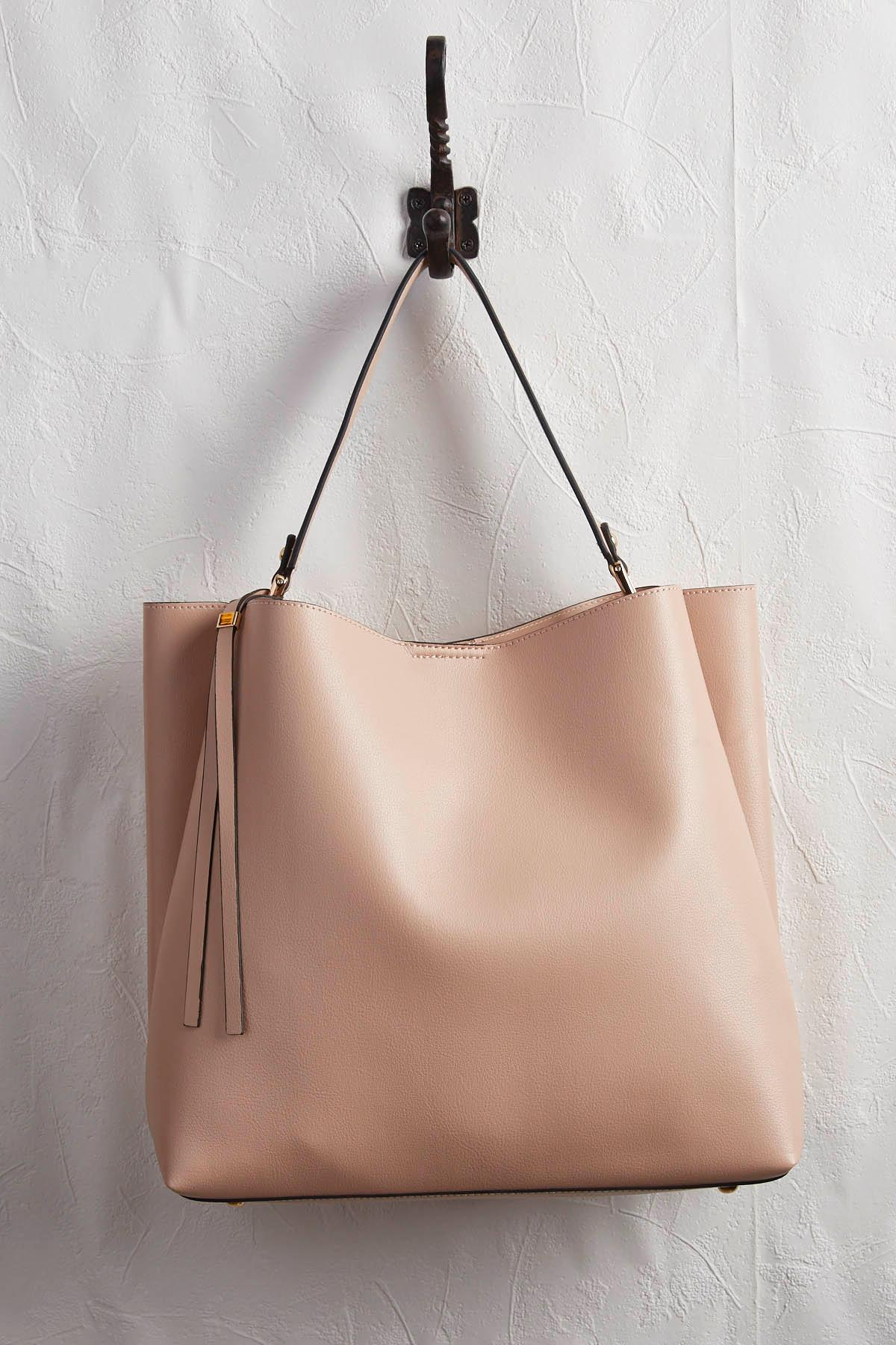 Blush And Canvas Bag In Bag Set