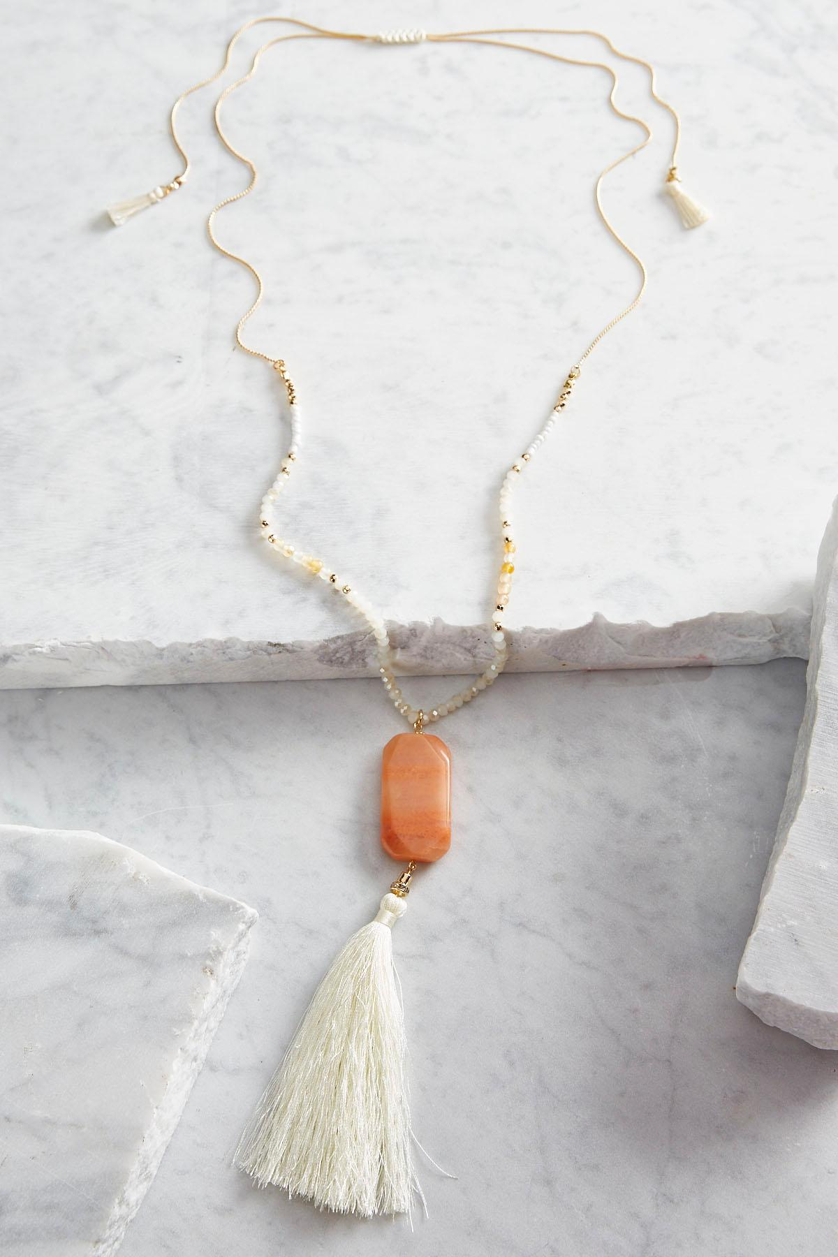 Tassel Stone Pendant Beaded Necklace