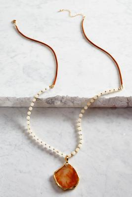 beaded semi-precious cord necklace