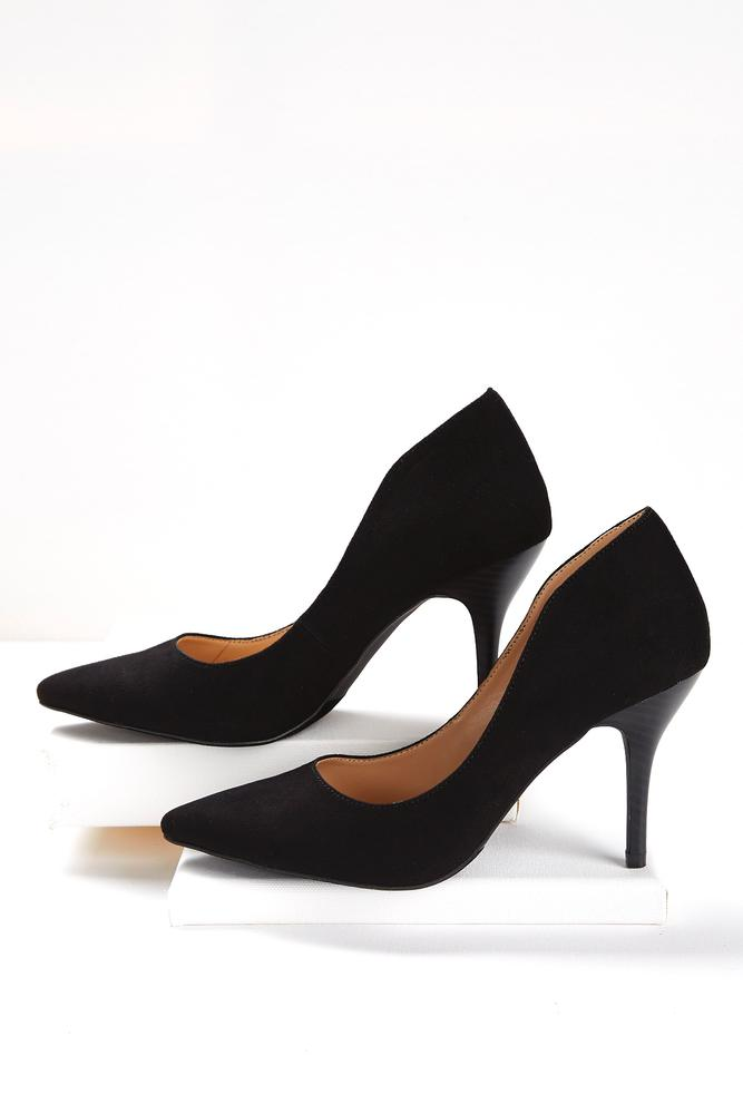 Faux Suede Winged Pumps
