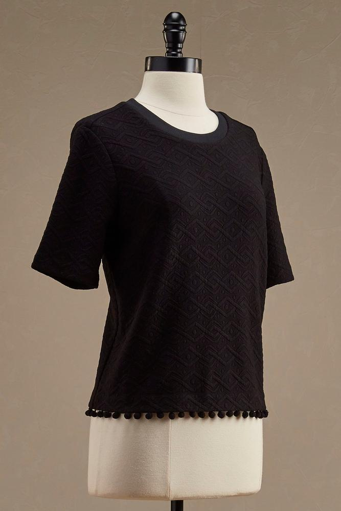 Geo- Textured Pom Pom Skimmer Top