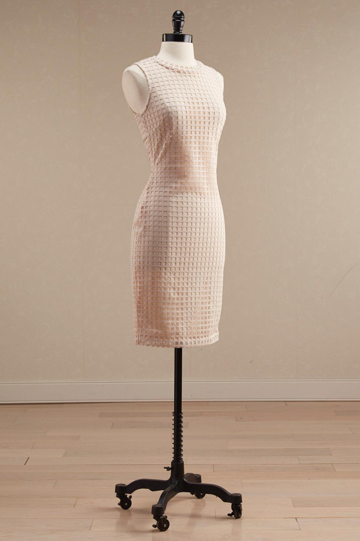 Windowpane Lace Sheath Dress