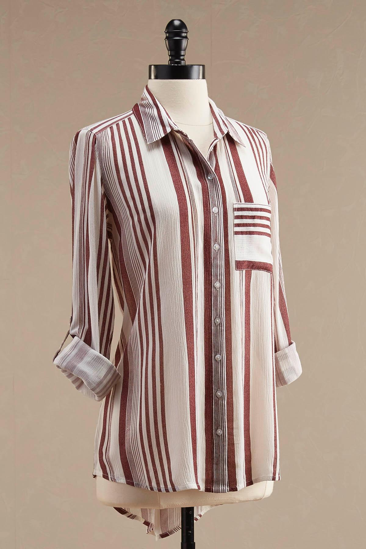 Mixed Striped Button Down Tunic