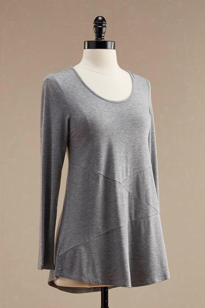 Asymmetrical Seamed Knit Tunic