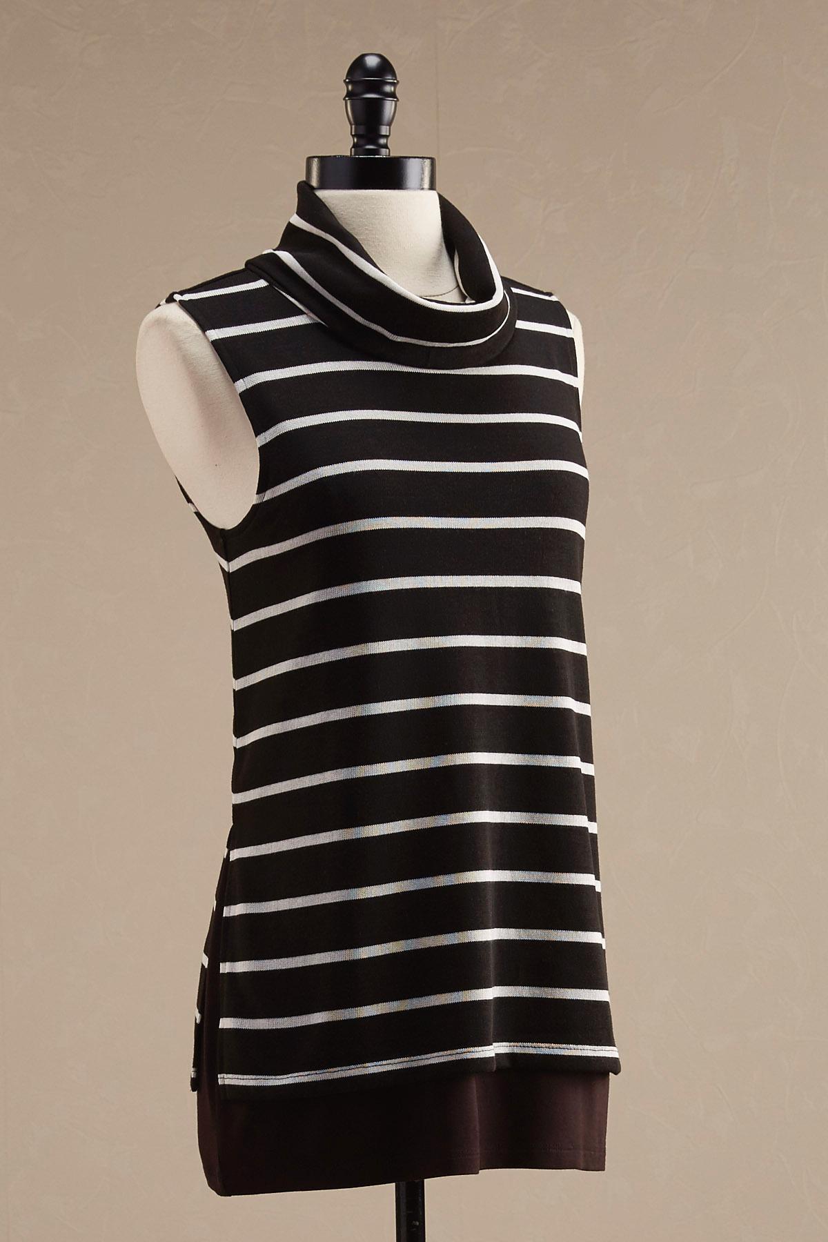 Striped Cowl Neck Layered Tunic
