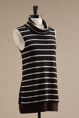striped cowl neck layered tunic