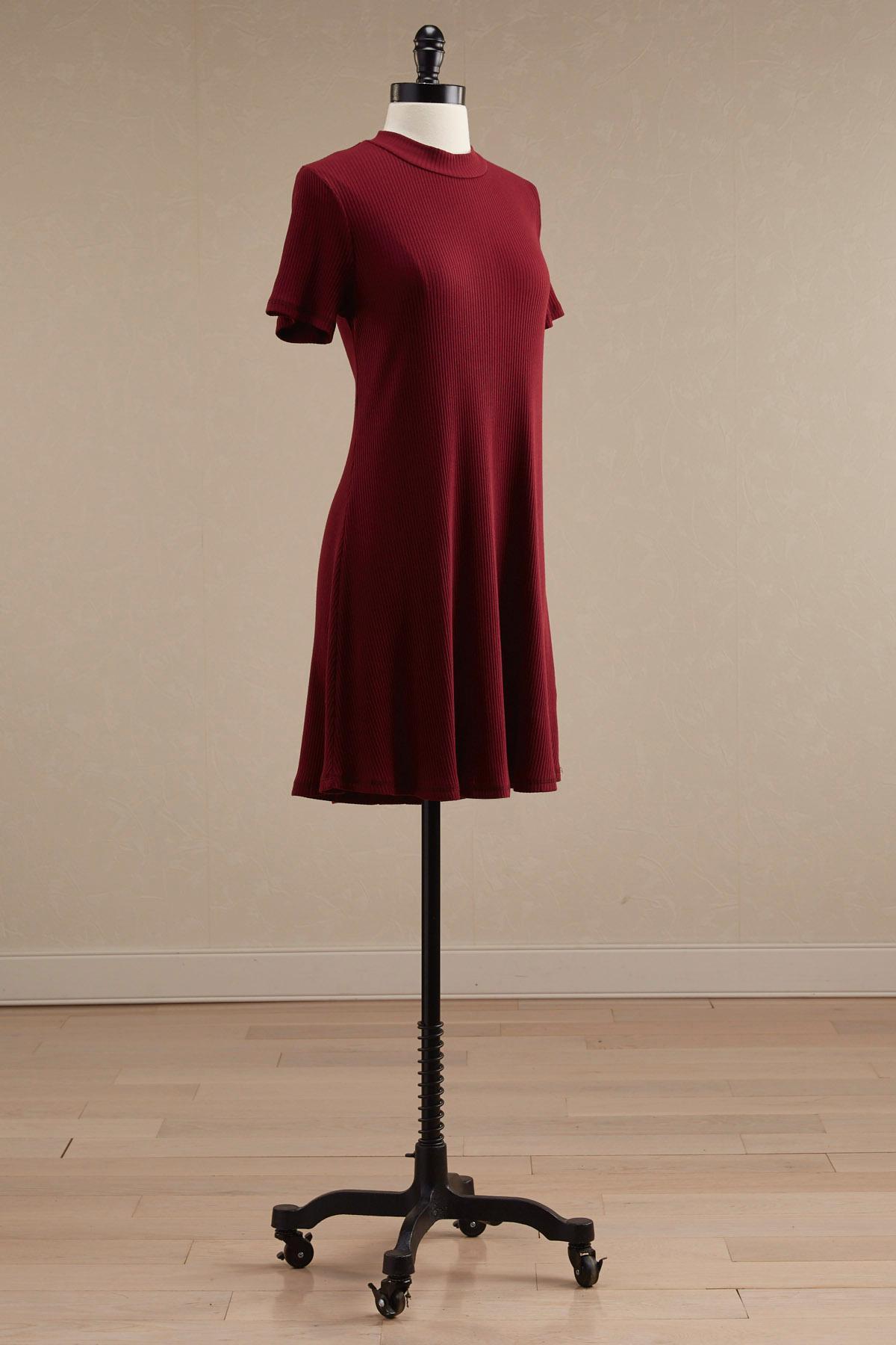 Ribbed Mock Neck Trapeze Dress