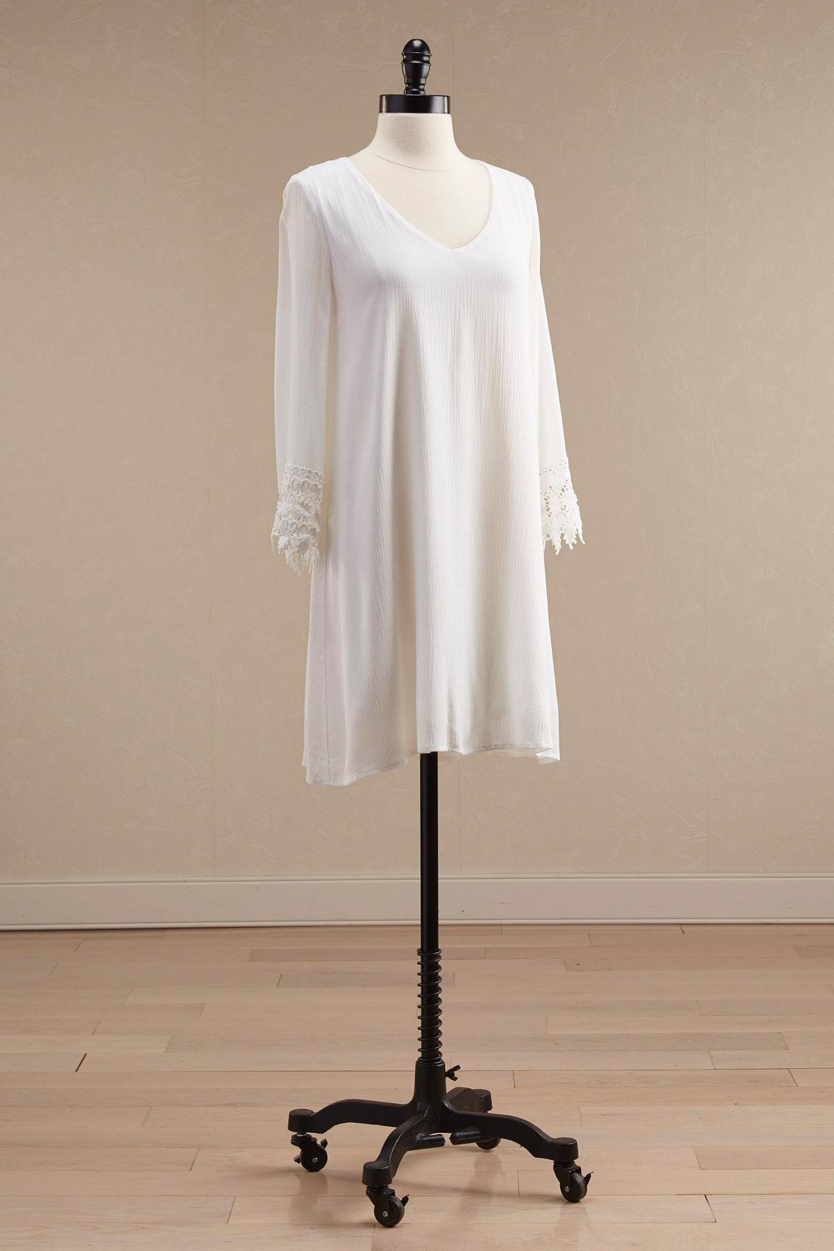 Crochet Sleeve Gauze Shift Dress