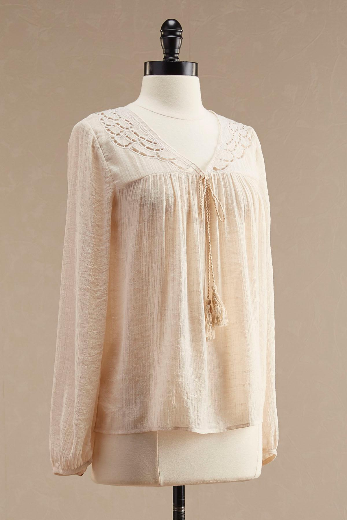 Embroidered Cutout Yoke Poet Top