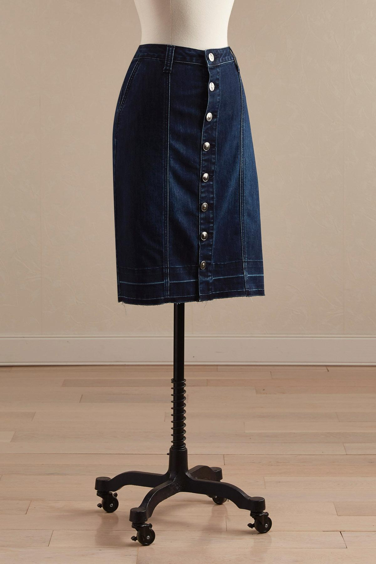 Button Front Release Hem Denim Skirt