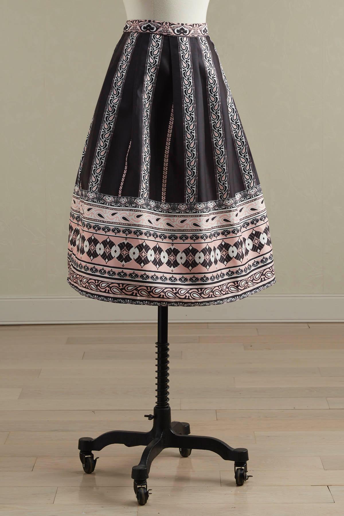 Bordered Midi Skirt