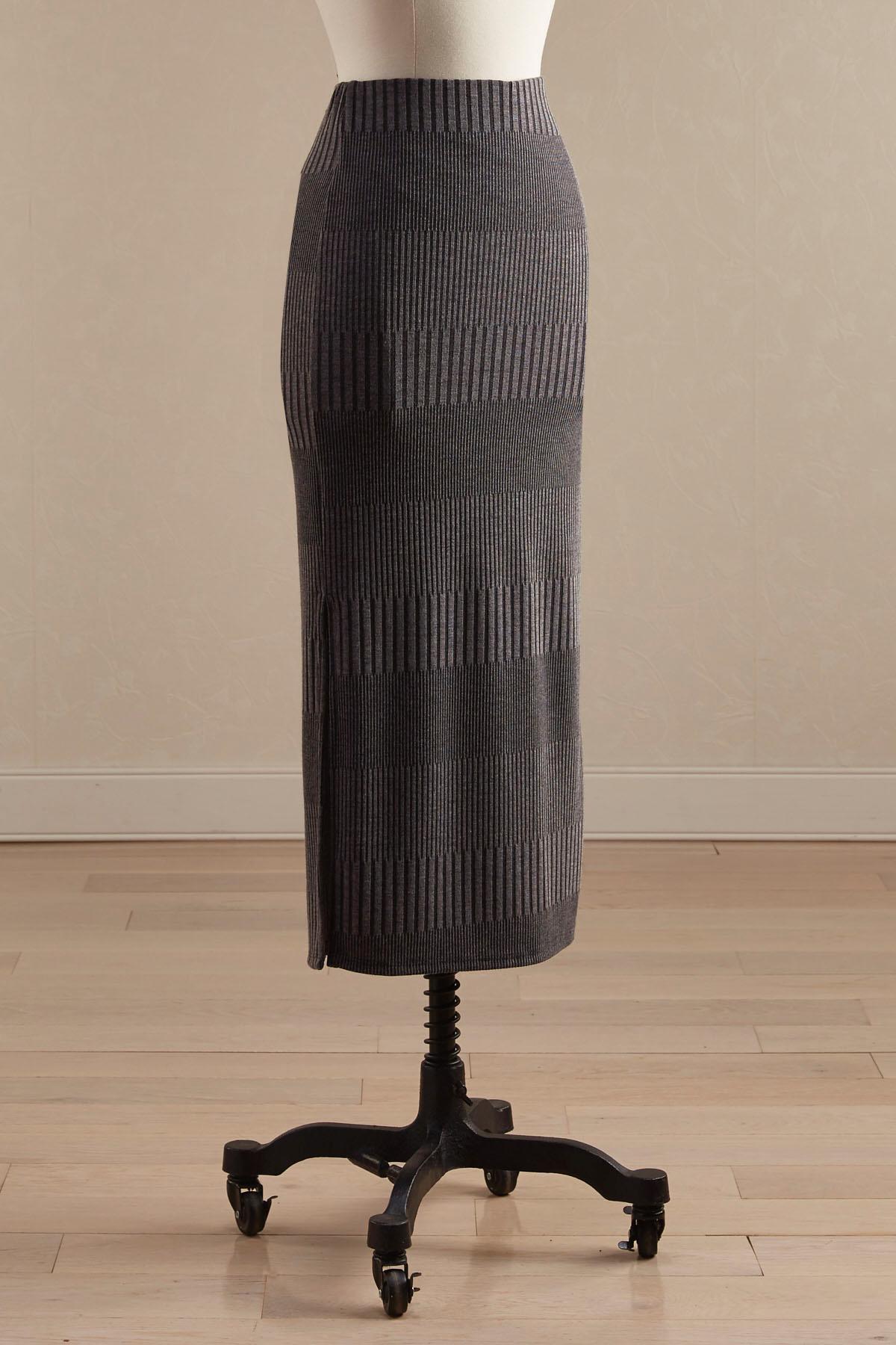 Ribbed Side Slit Midi Skirt