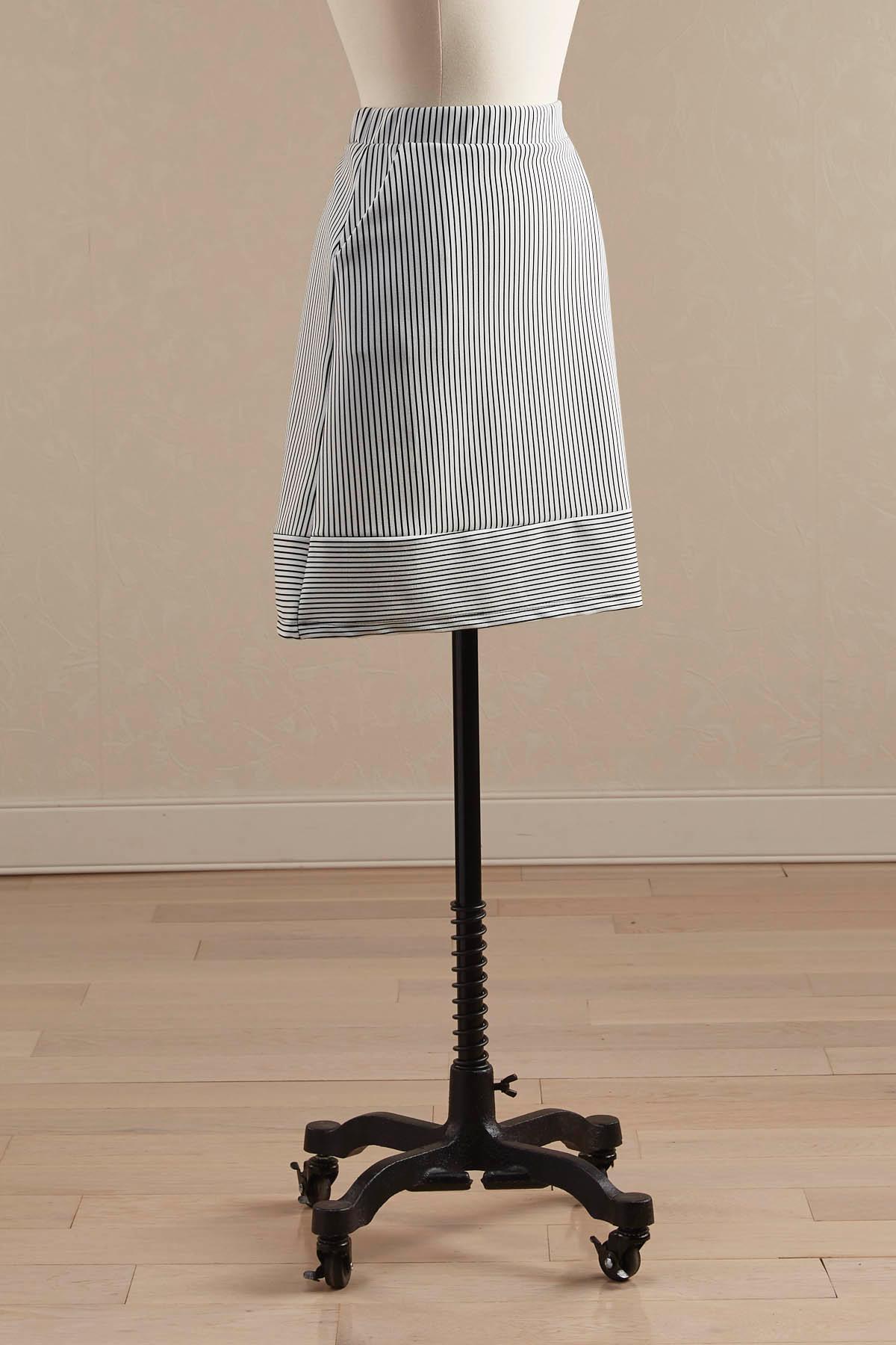 Contrast Hem Striped A- Line Skirt