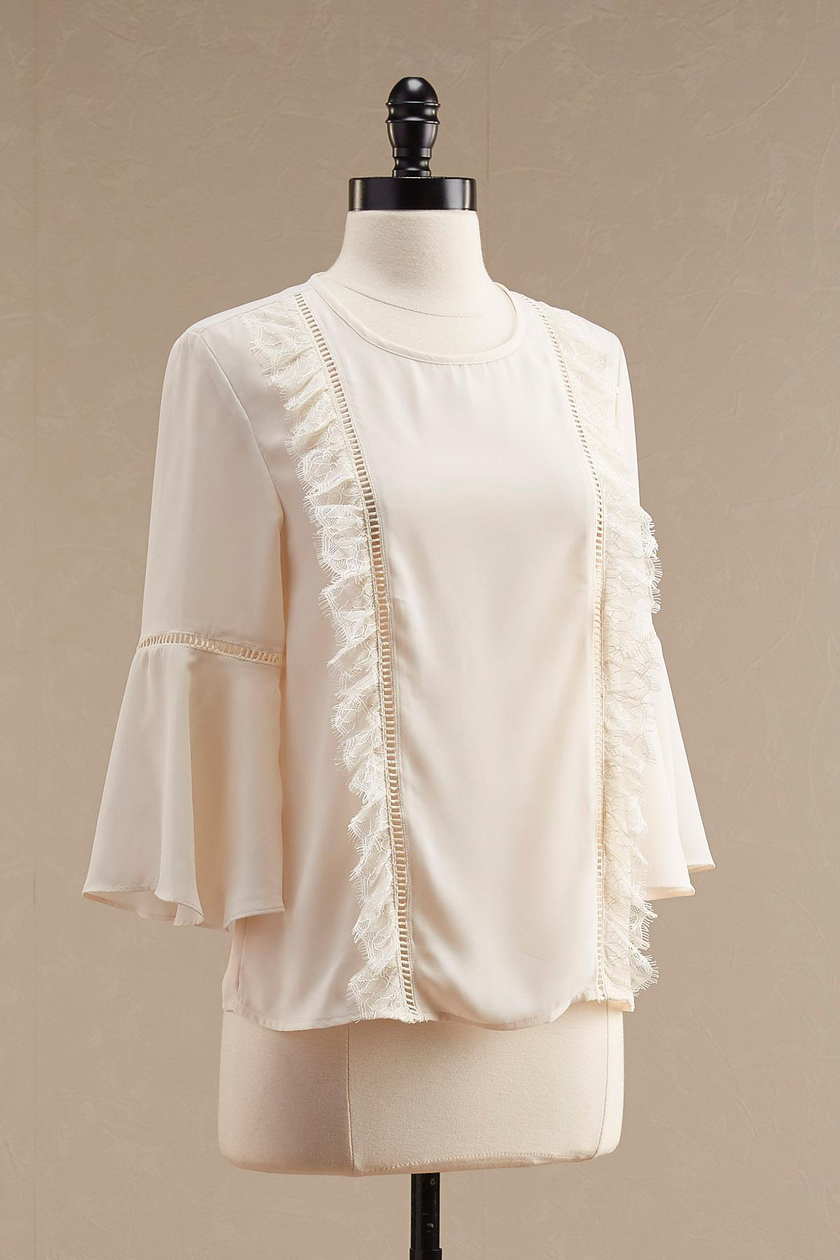 Lace Trim Ruffled Bell Sleeve Top