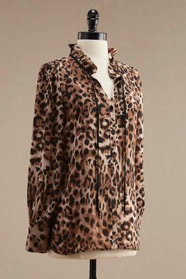 leopard print ruffled tie neck blouse