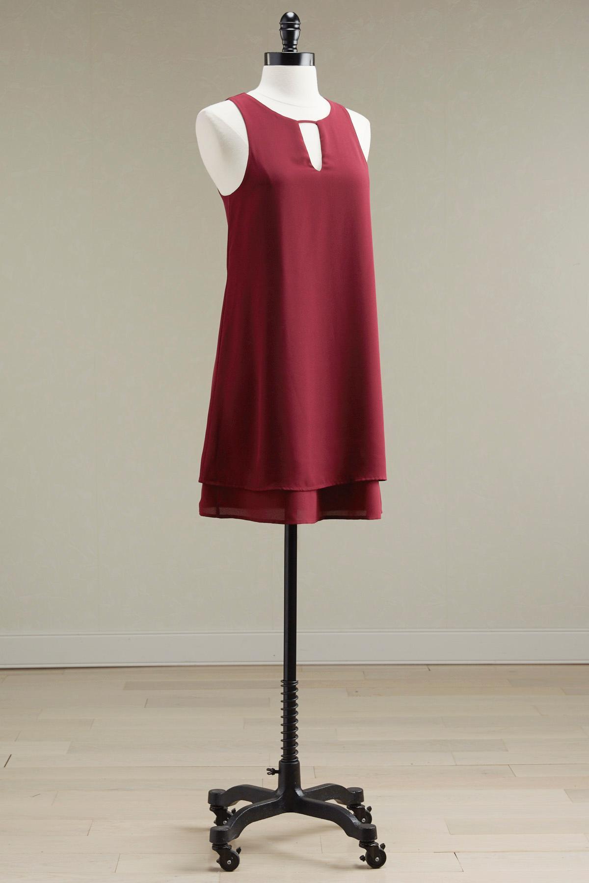 Layered Keyhole Neck Shift Dress