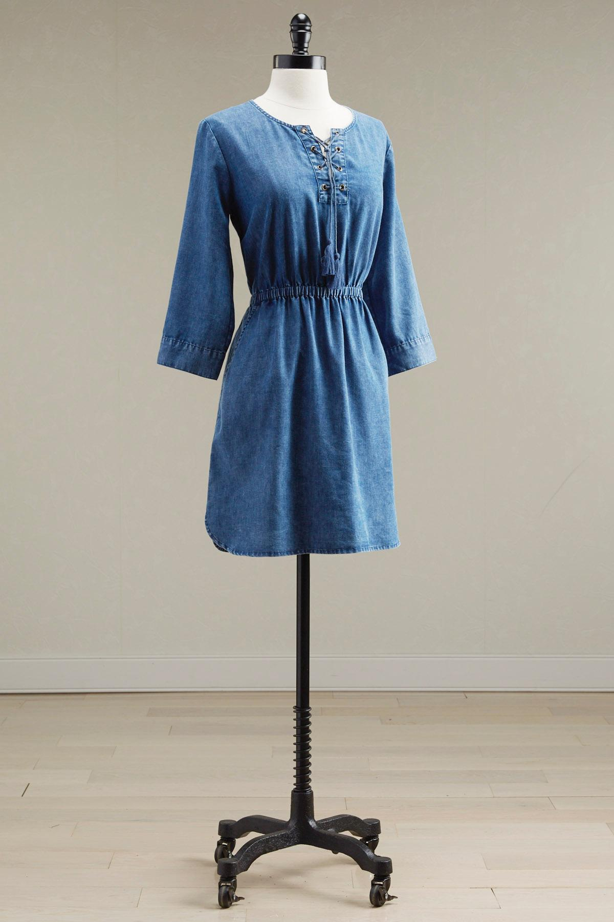 Lace Up Chambray Blouson Dress
