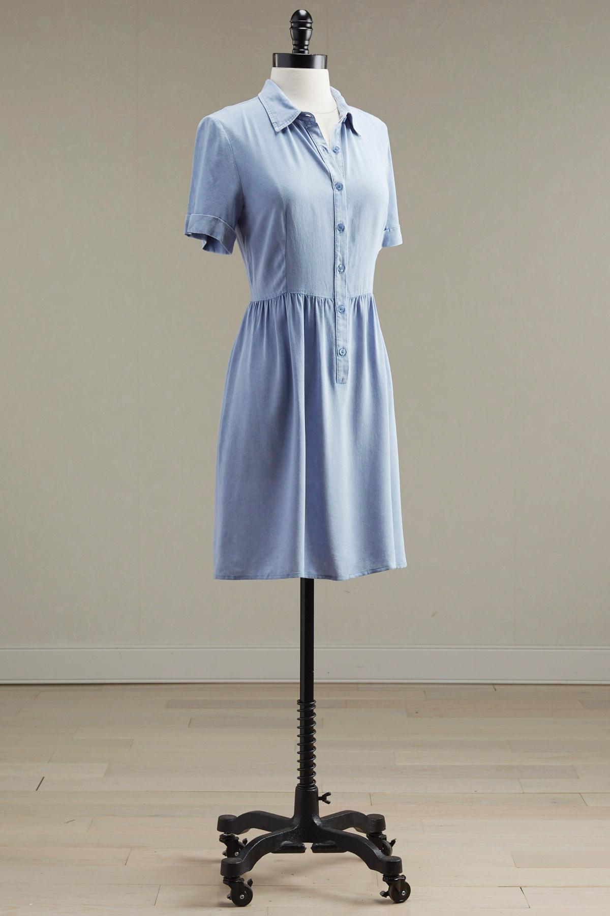 Chambray Babydoll Shirt Dress
