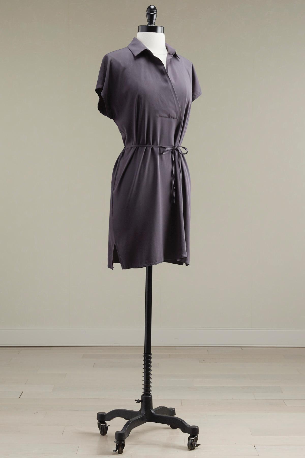 Belted Split Neck Shirt Dress