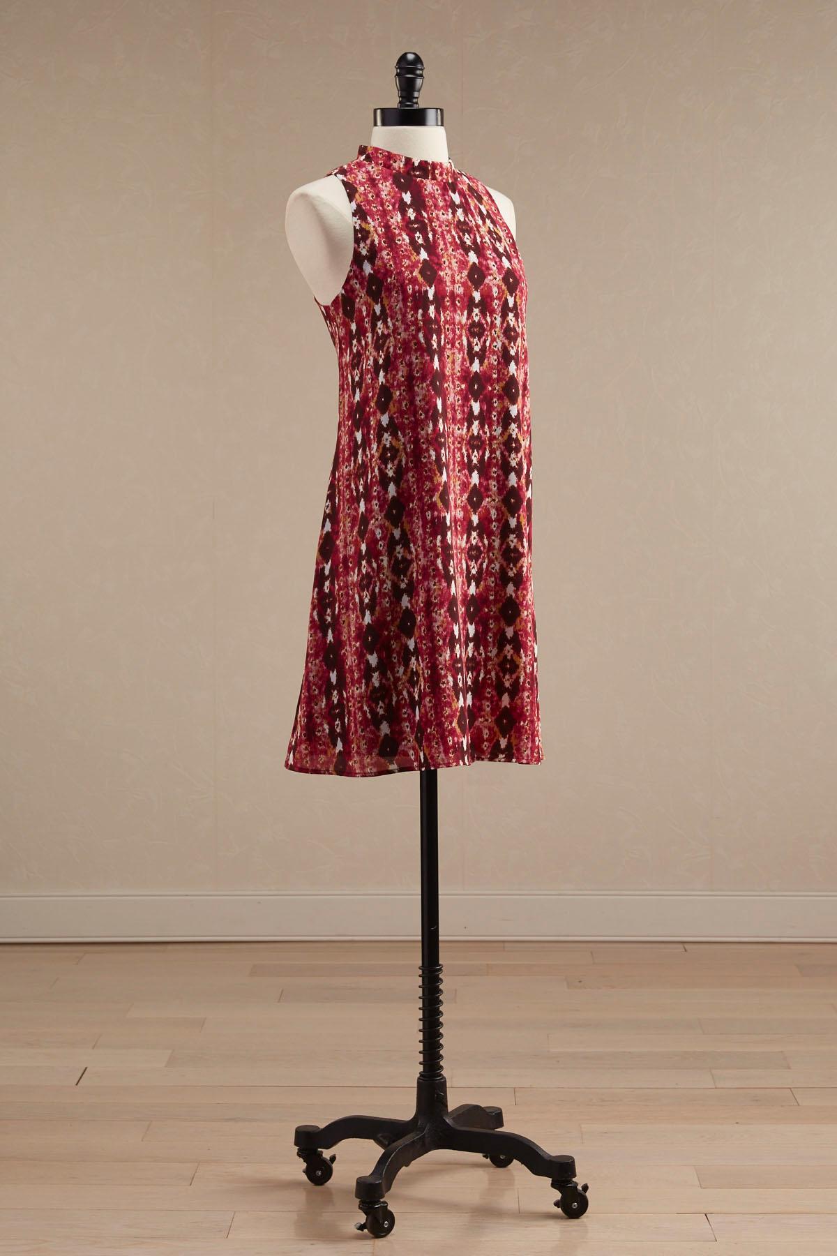 Abstract Ikat Mock Neck Shift Dress