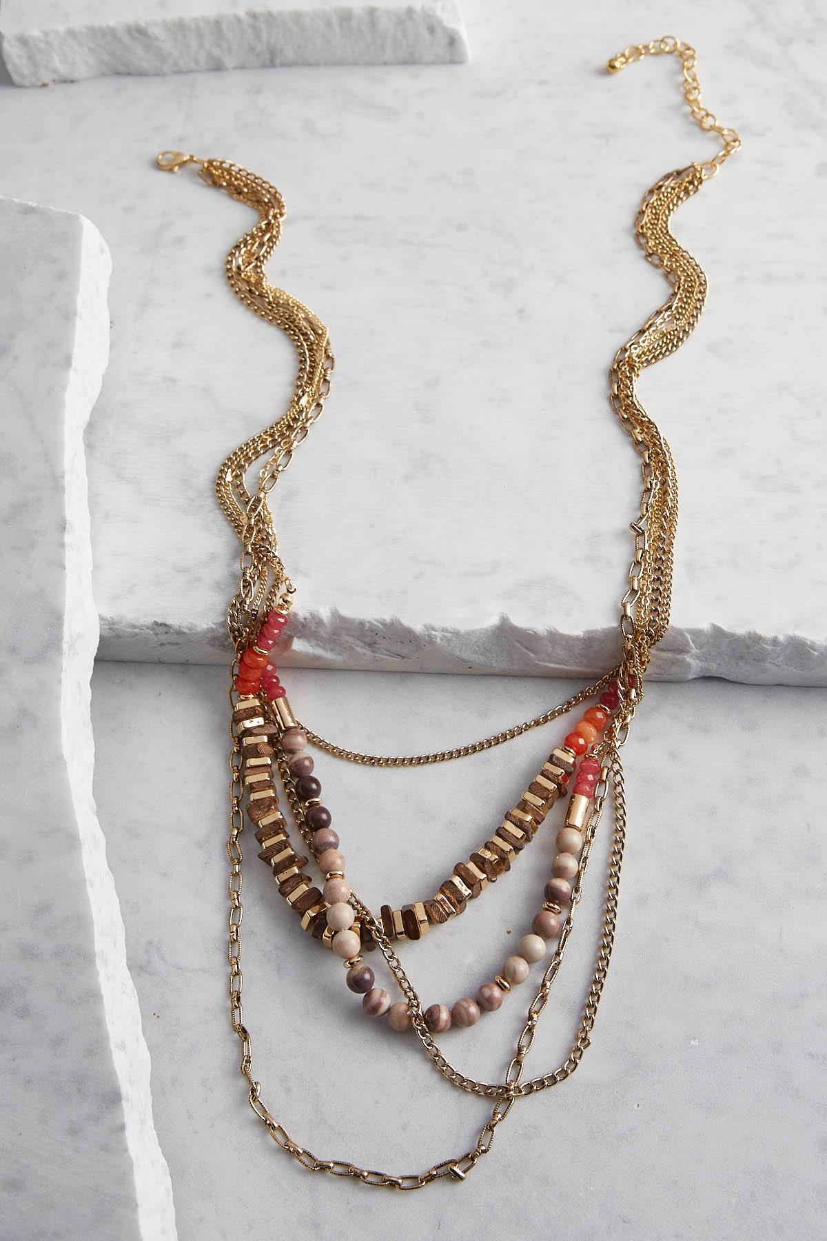 Layered Semi- Precious Bead Necklace