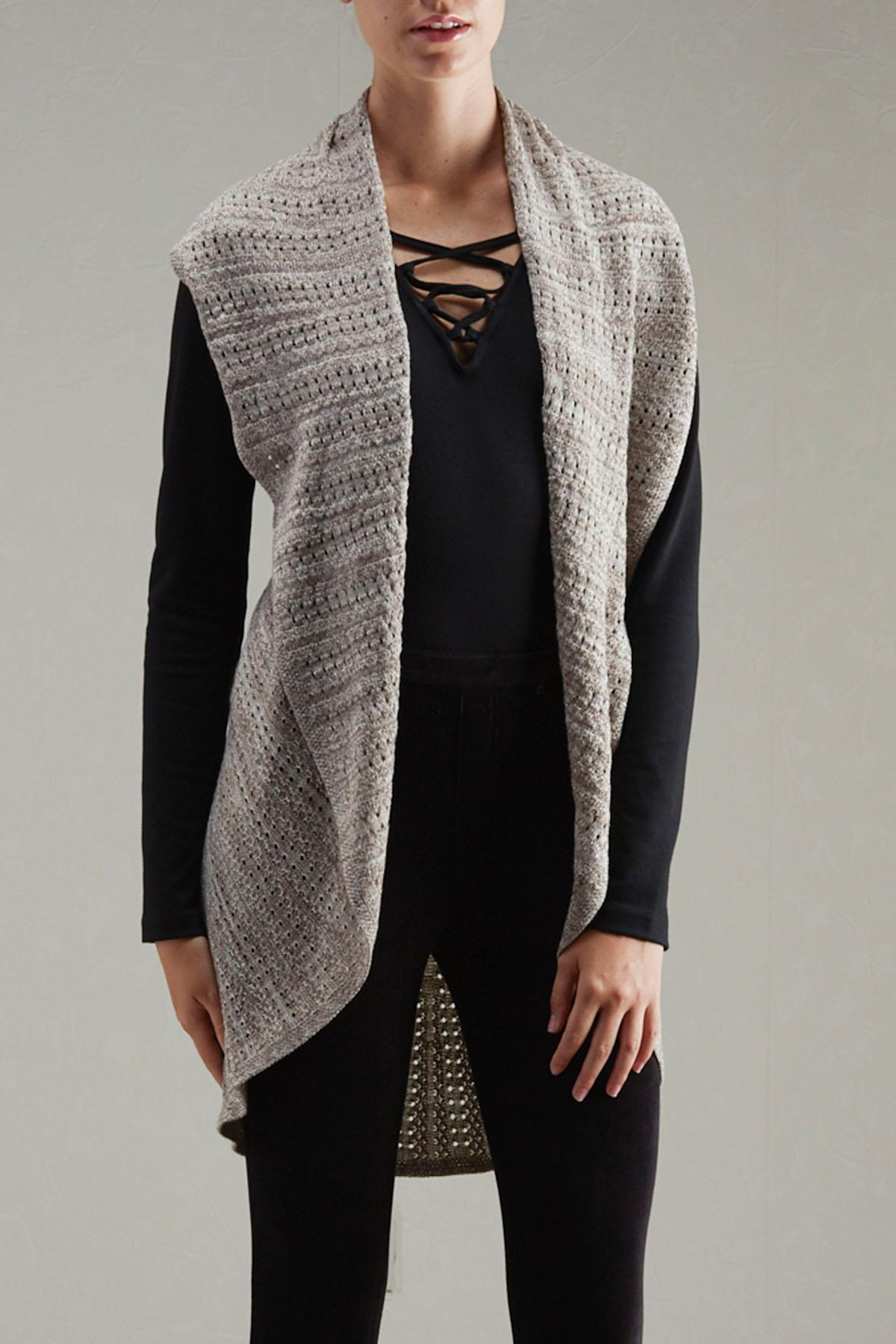 Marled Pointelle Knit Circular Vest