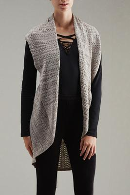marled pointelle knit circular vest