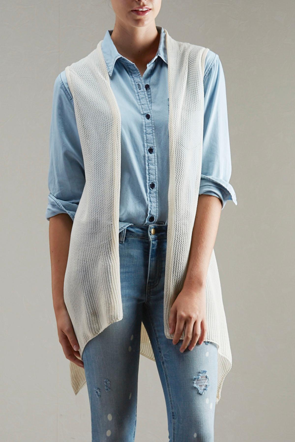 Crochet Inset Fishnet Vest