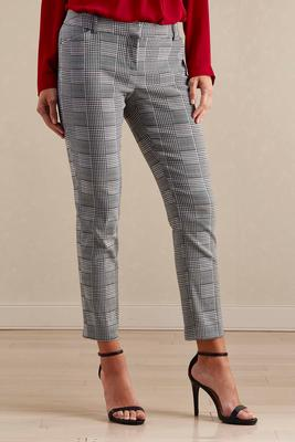patchwork houndstooth slim leg pants