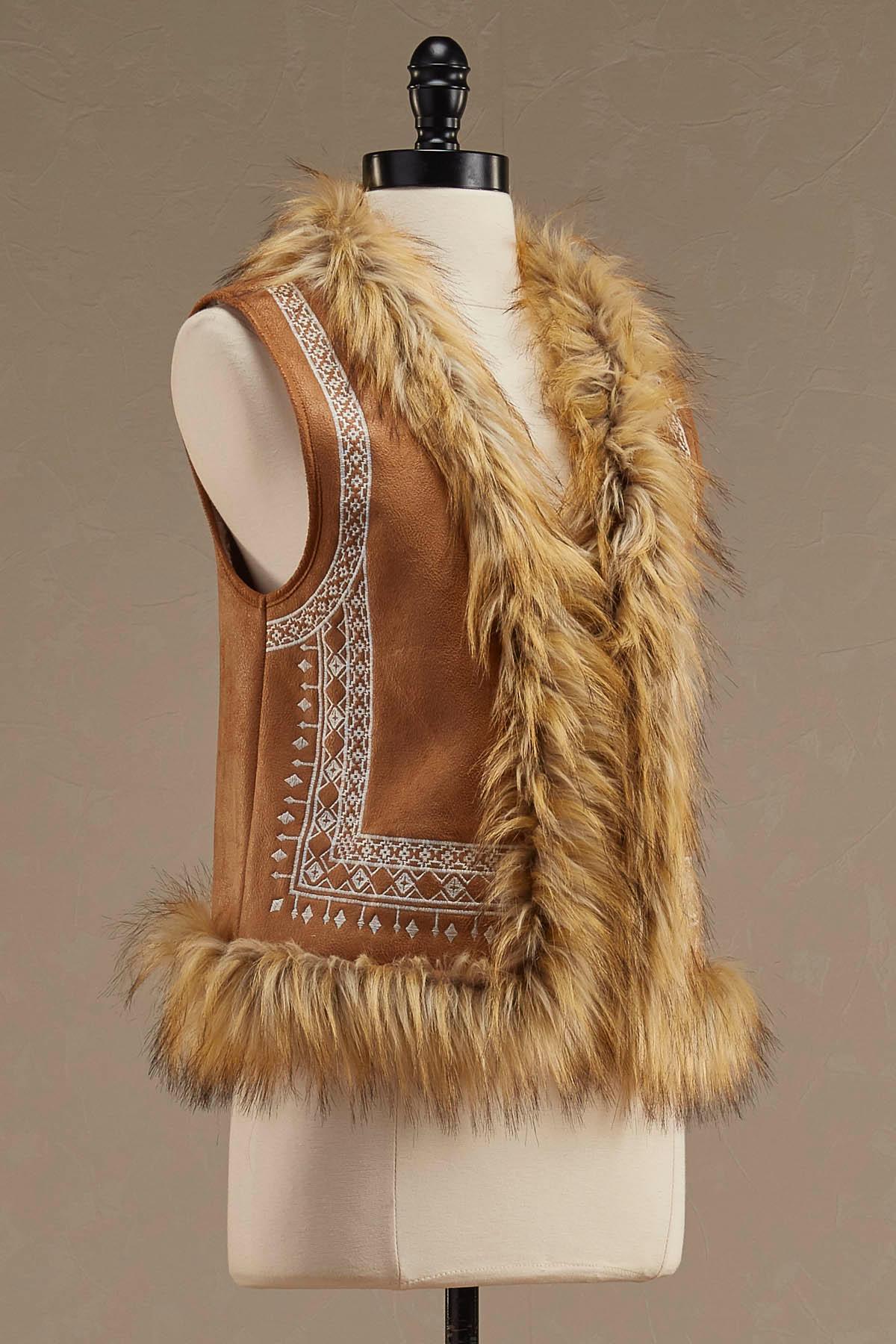Embroidered Faux Fur Trim Vest