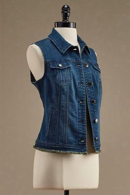 seamed denim vest