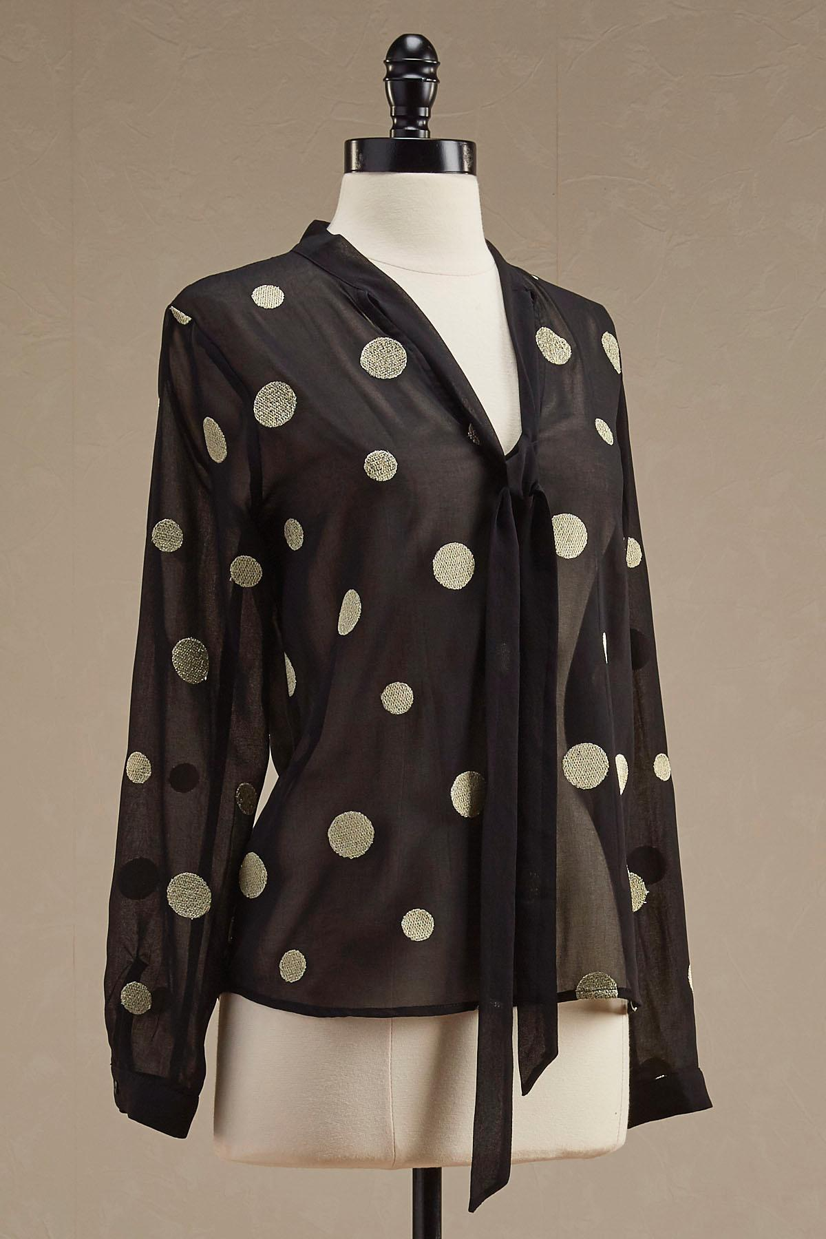 Metallic Polka Dot Bow Blouse