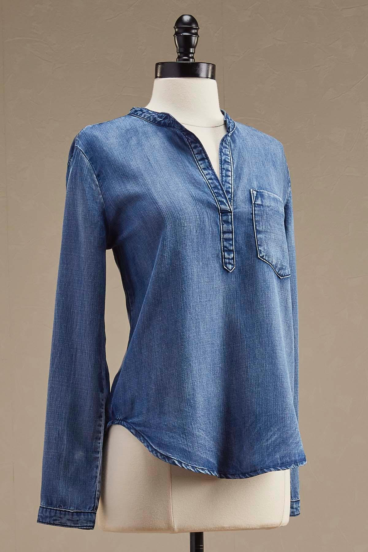 High- Low Chambray Popover Top