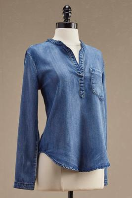 high-low chambray popover top