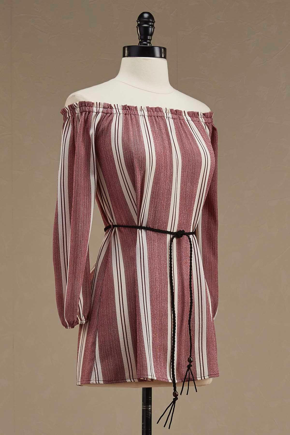 Belted Striped Off The Shoulder Tunic