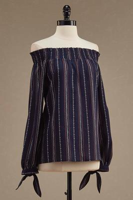mixed stripe smocked off the shoulder top