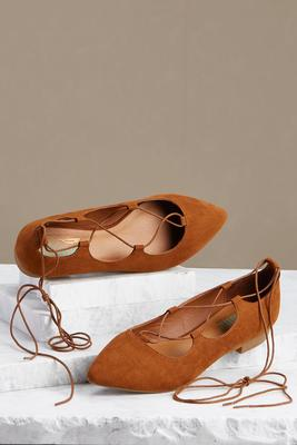 lace up pointy flats