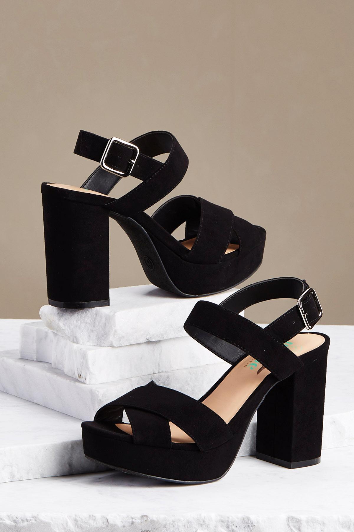 Criss Cross Strap Block Heels