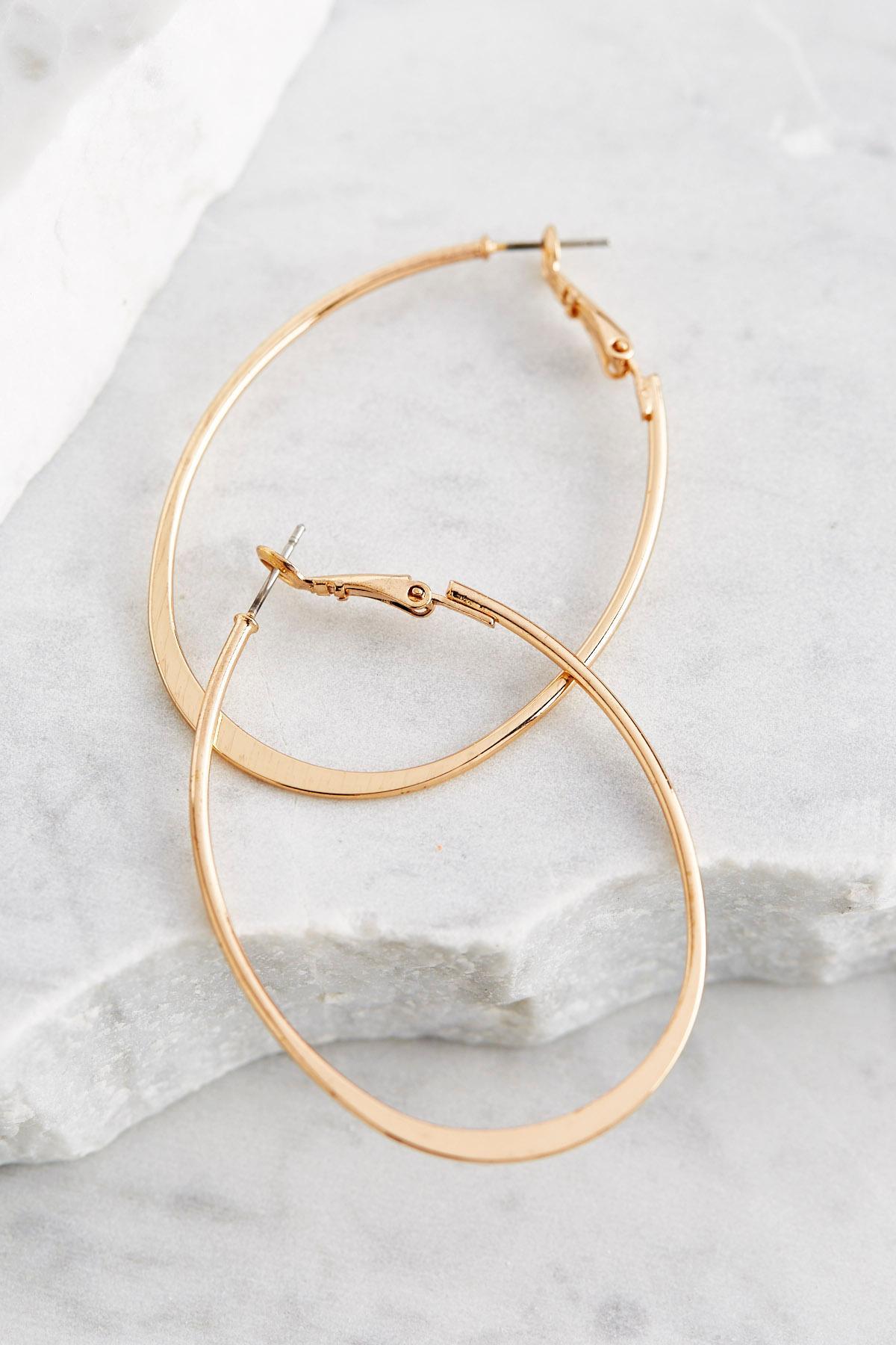 Brass Flat Bottom Oval Hoop Earrings
