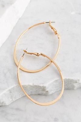 brass flat bottom oval hoop earrings
